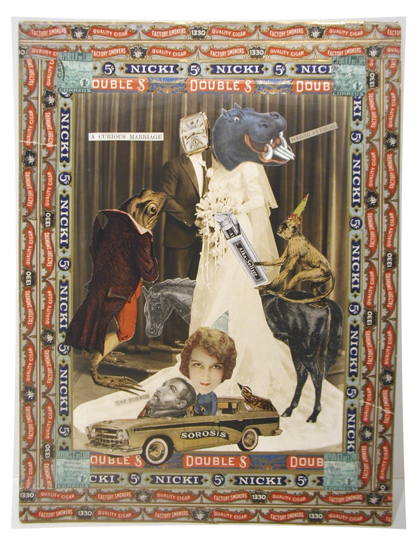 """Felipe Jesus Consalvos, """"Car Horror"""", c. 1920-1960s, mixed media collage, 13 1/4 x 10 inches"""