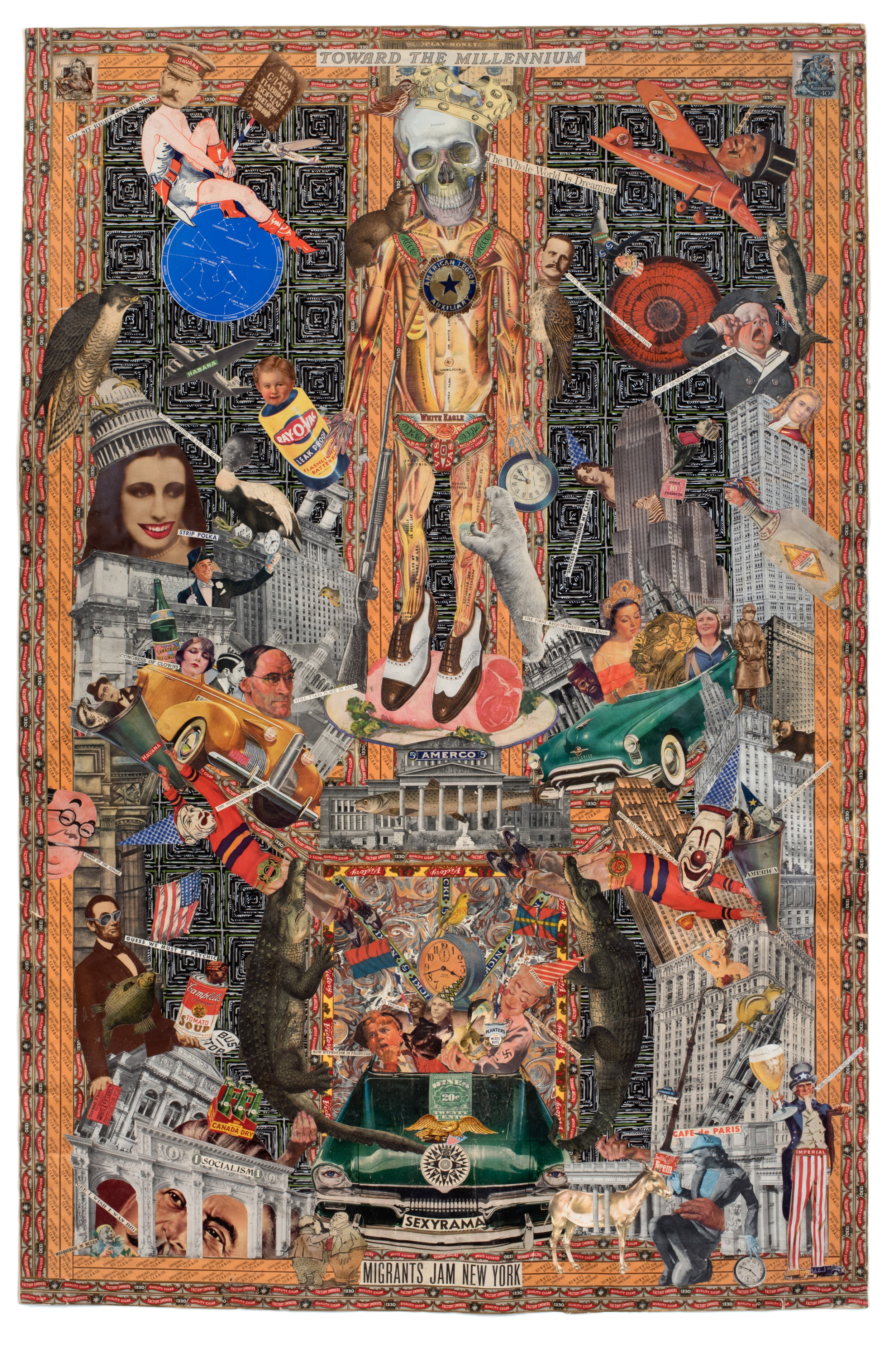 "Felipe Jesus Consalvos, ""Toward the Millenium"", c. 1920-1960s, collage on paper, double sided, 47 1/2 x 30 1/2 inches, Side B"