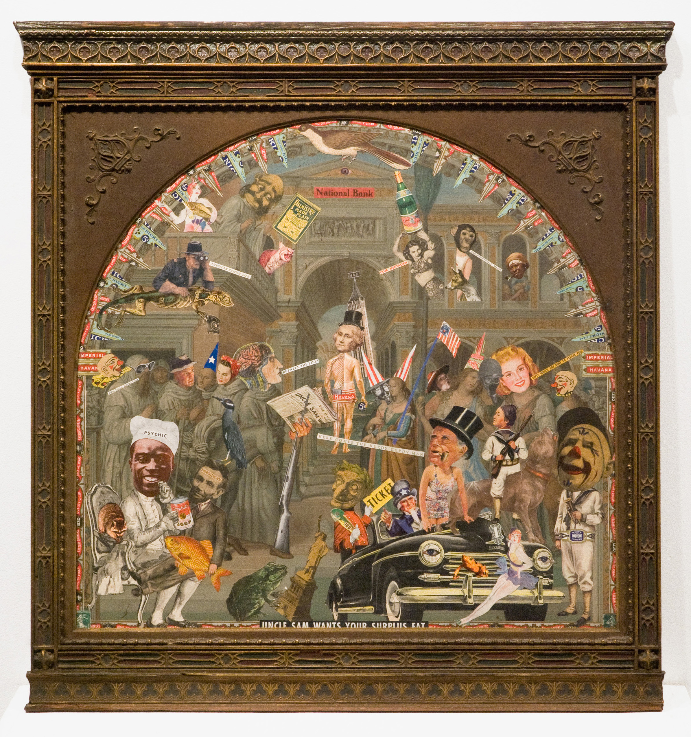 "Felipe Jesus Consalvos, ""Uncle Sam Wants Your Surplus Fat"", c. 1920-1960s, mixed media collage in frame, 27 3/4 x 27 inches"