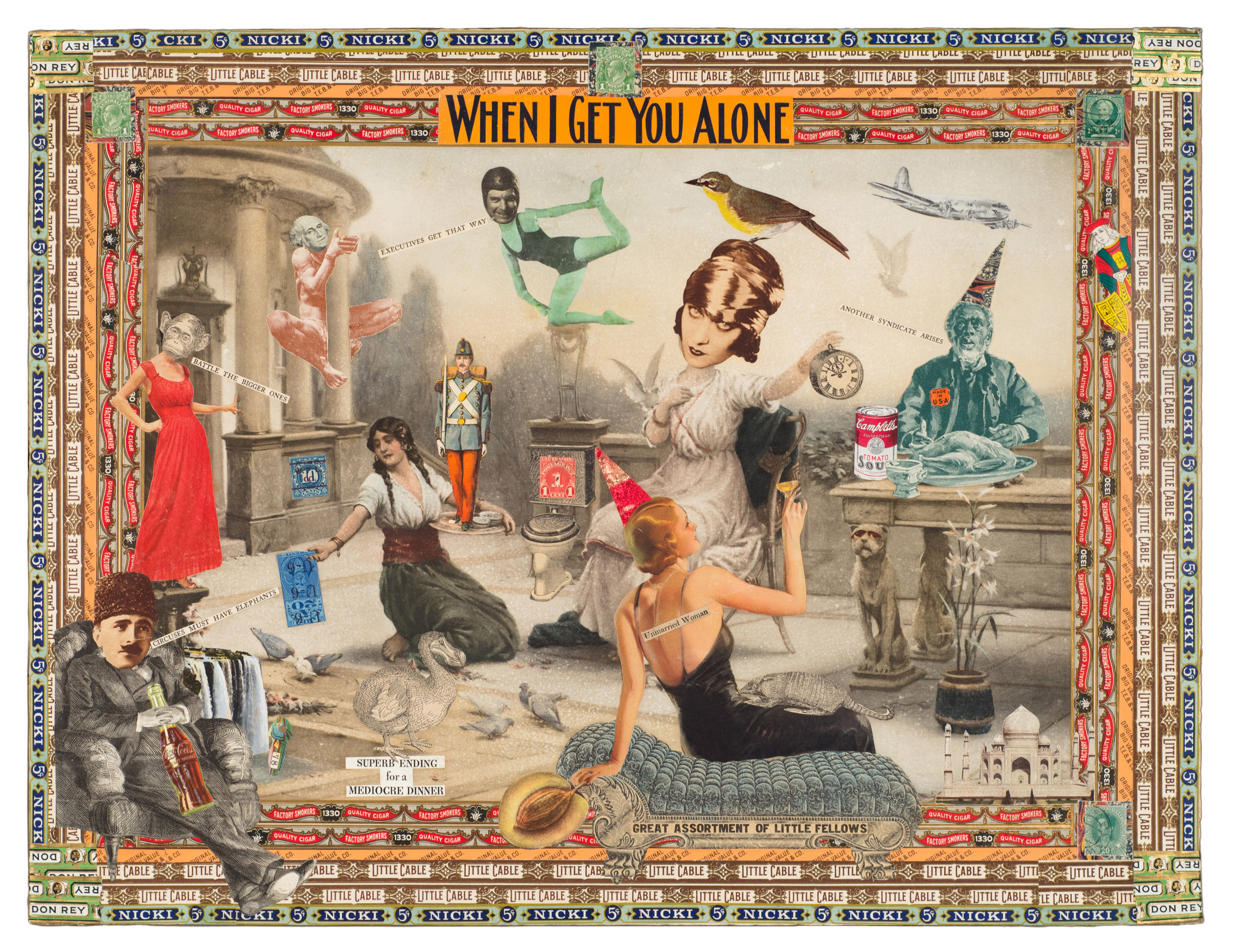 "Felipe Jesus Consalvos, ""When I Get You Alone"", c. 1920-1960s, mixed media collage, 19 x 25 inches"