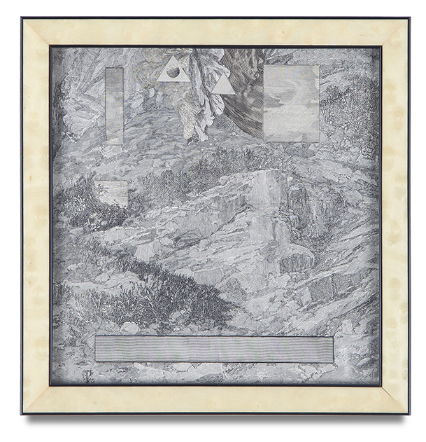 "Bruce Conner, ""LANDSCAPE SEPTEMBER 18, 1998"", 1998, engraving collage, 7 5/8 x 7 1/2 inches"