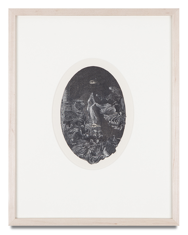 "Bruce Conner, ""UNTITLED, OCTOBER 9, 1982,"" 1982, engraving collage, 14 1/2 x 11 1/2 inches"