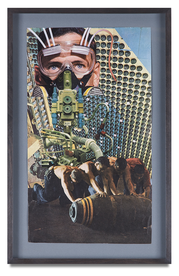 "Jean Conner, ""POWER"", 1980, paper collage, 18 x 10 3/8 inches"