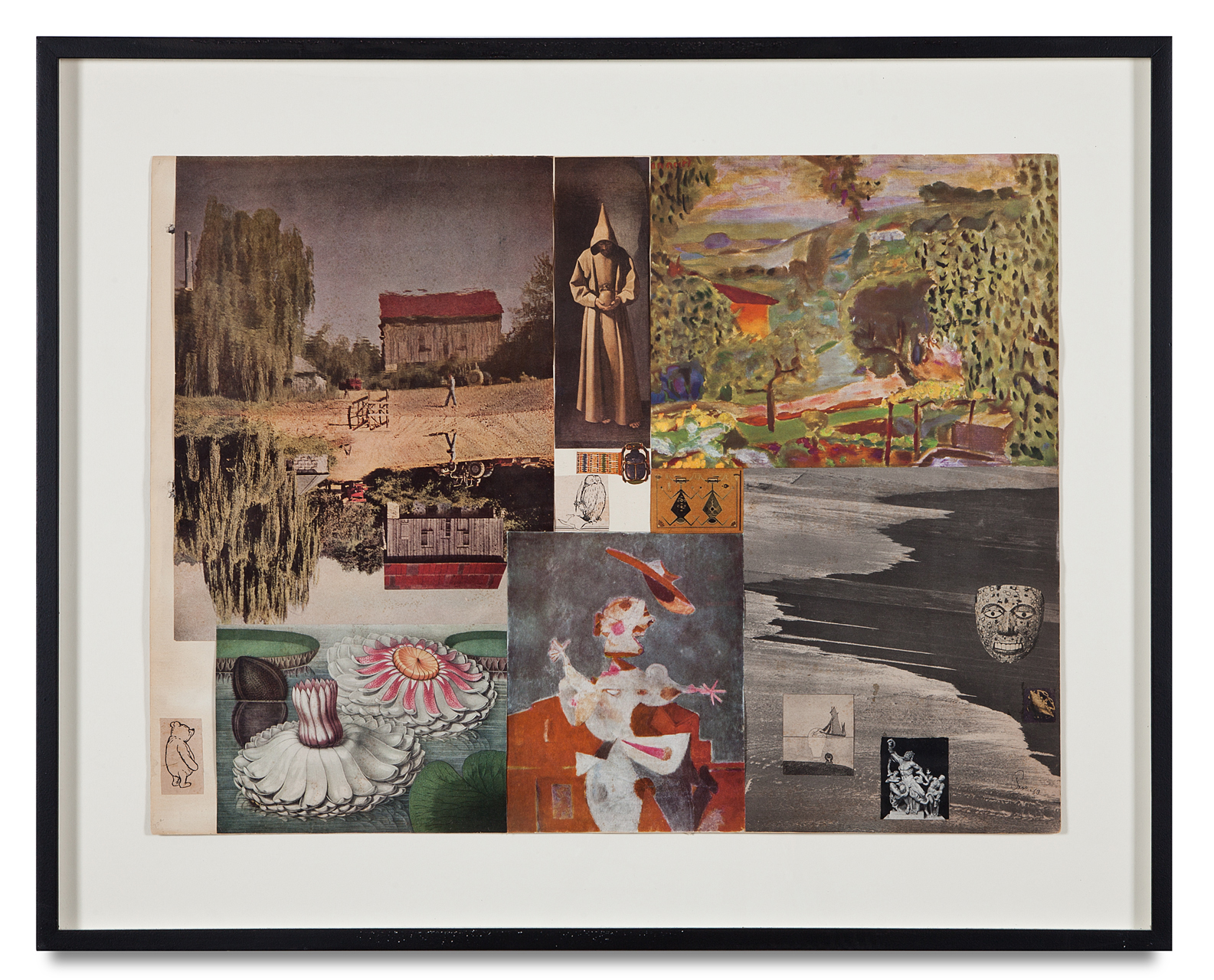 "Jess, ""Untitled (with Pooh Figure)"", 1953-53, collage, 24 x 29 3/4 inches"