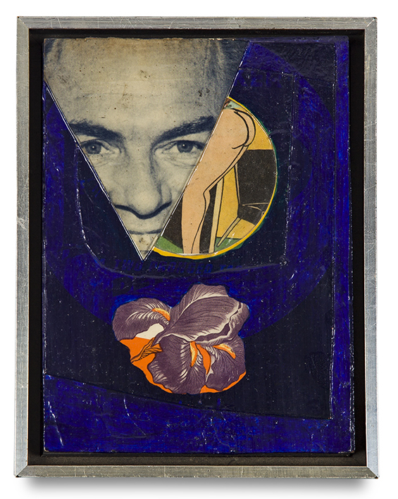 "Tony Berlant, ""Iris"", 1963, paper collage, 8 1/2 x 6 1/4 inches"