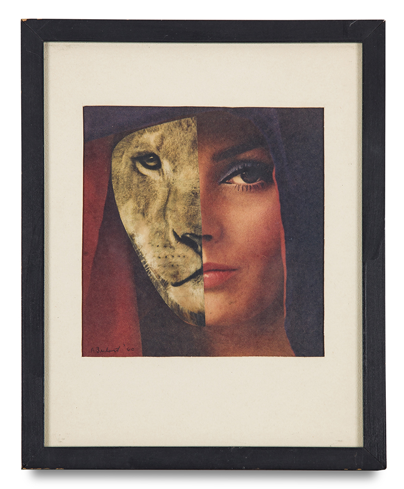 "Tony Berlant, ""Untitled Lioness"", 1960, paper collage, 7 x 6 1/2 inches"