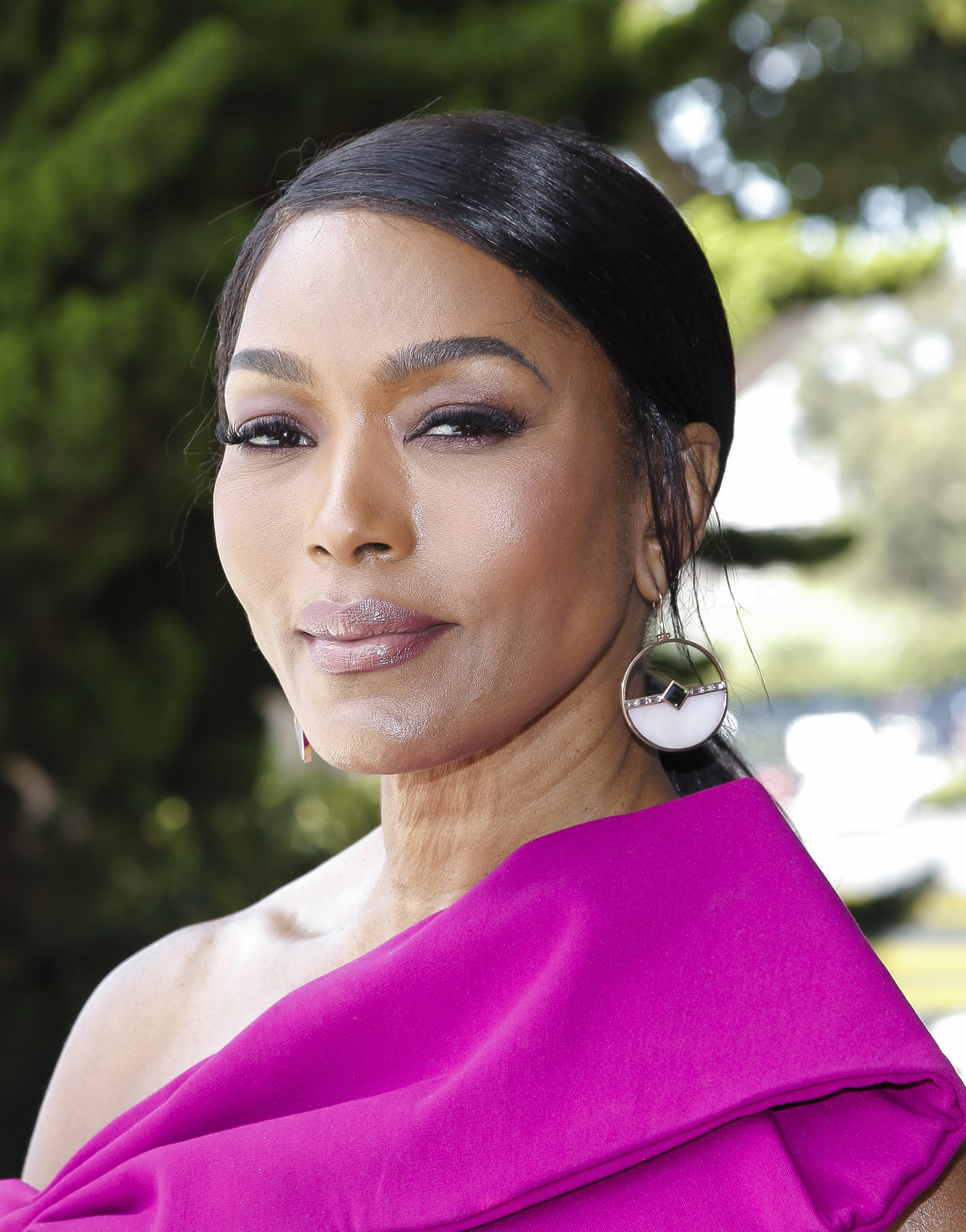 Angela Basset, August 2019, Horizon Earrings, Opal Ring, Mirror Cut Aquamarine Ring