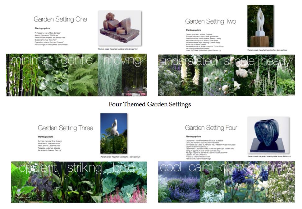 Four themed garden settings