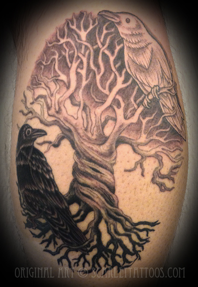 Tree of Life Yin-Yang Ravens
