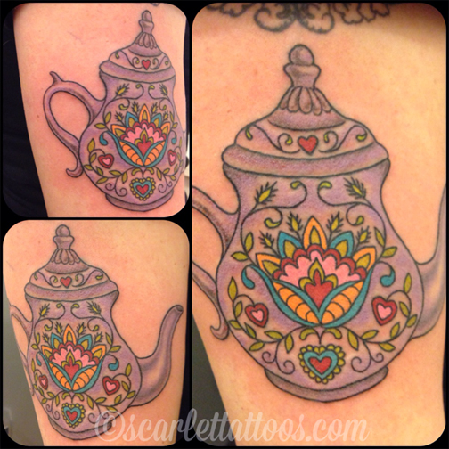 Czech Folkart Teapot tattoo