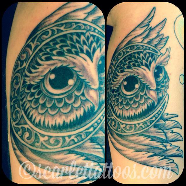 Ornamental Owl in Moon tattoo