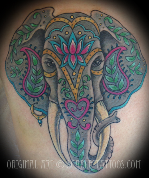 Painted Indian Elephant Tattoo