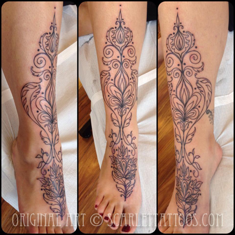 Henna inspired foot tattoo