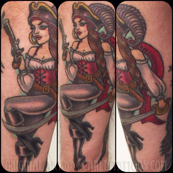 Pirate girl pinup tattoo