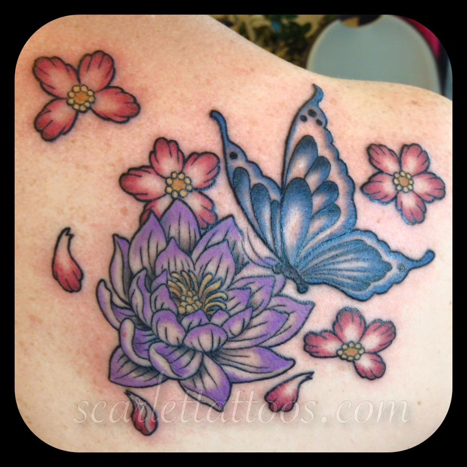 Lotus, Butterfly and Cherry Blossoms Tattoo