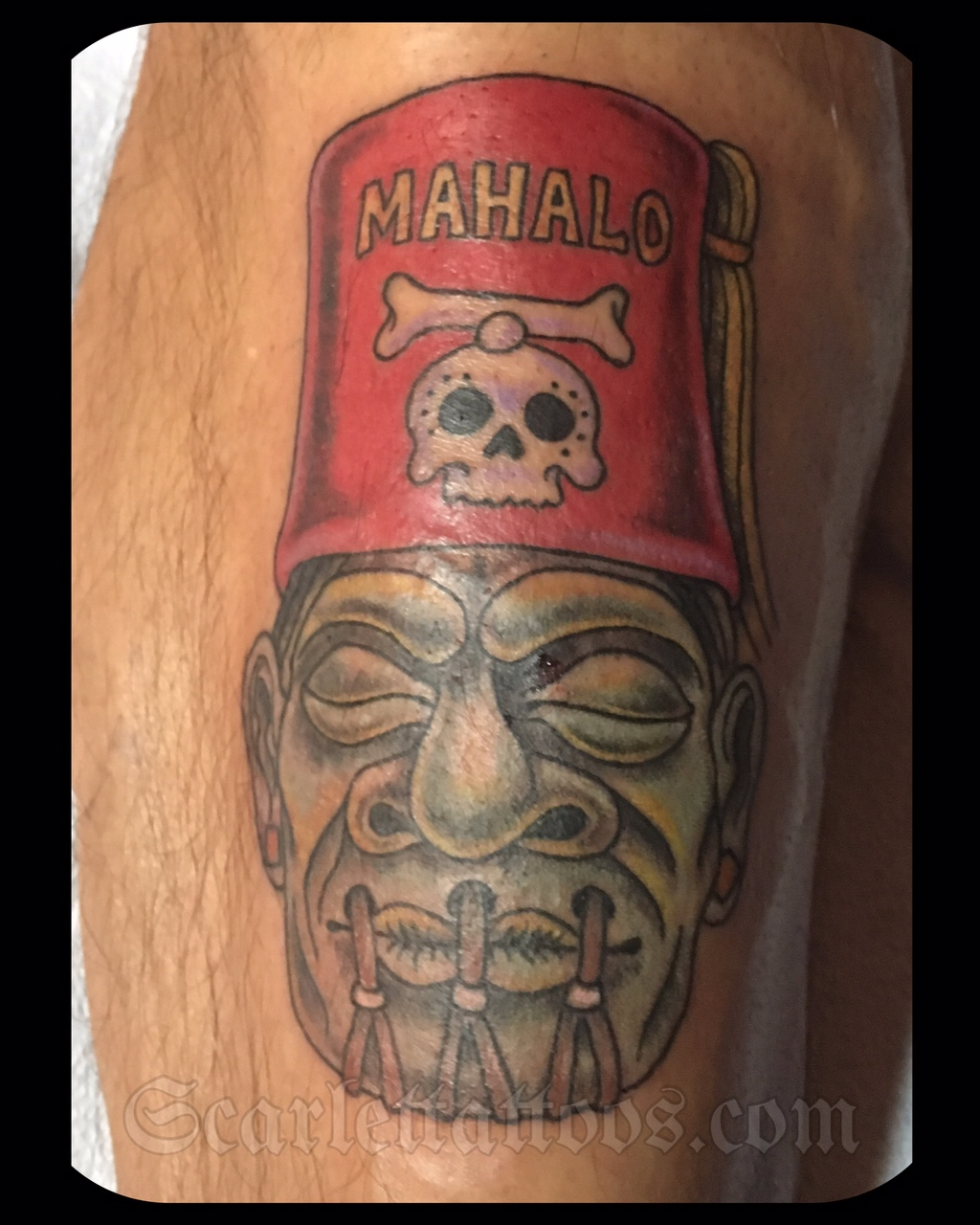 Mahalo Shrunken Head Tiki Tattoo