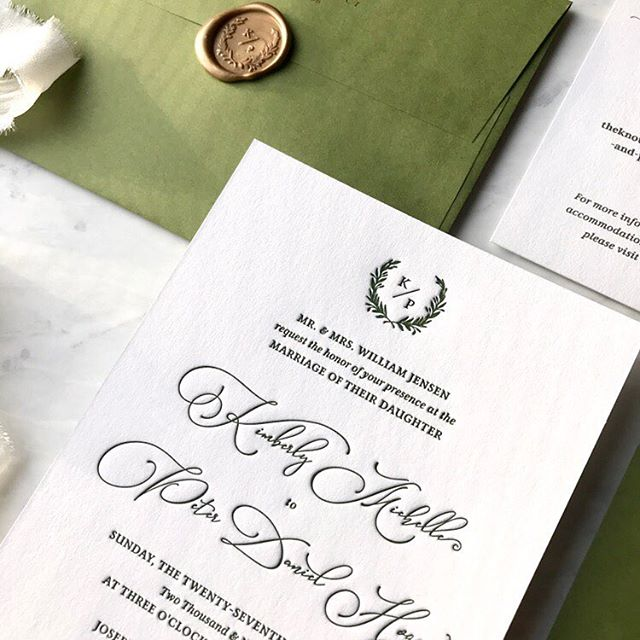 Kim & Peter got married one week ago! What an amazing weekend in DC celebrating them both. I loved working on their invites. Kim wanted something simple and classic. You can't go wrong with a monogram, letterpress and wax seal 💌 • . . . . . #letterpresslove #weddinginvitations #weddingstationery #monogramlove #dcwedding #winterwedding #waxseal #waxsealstamp #customstationery