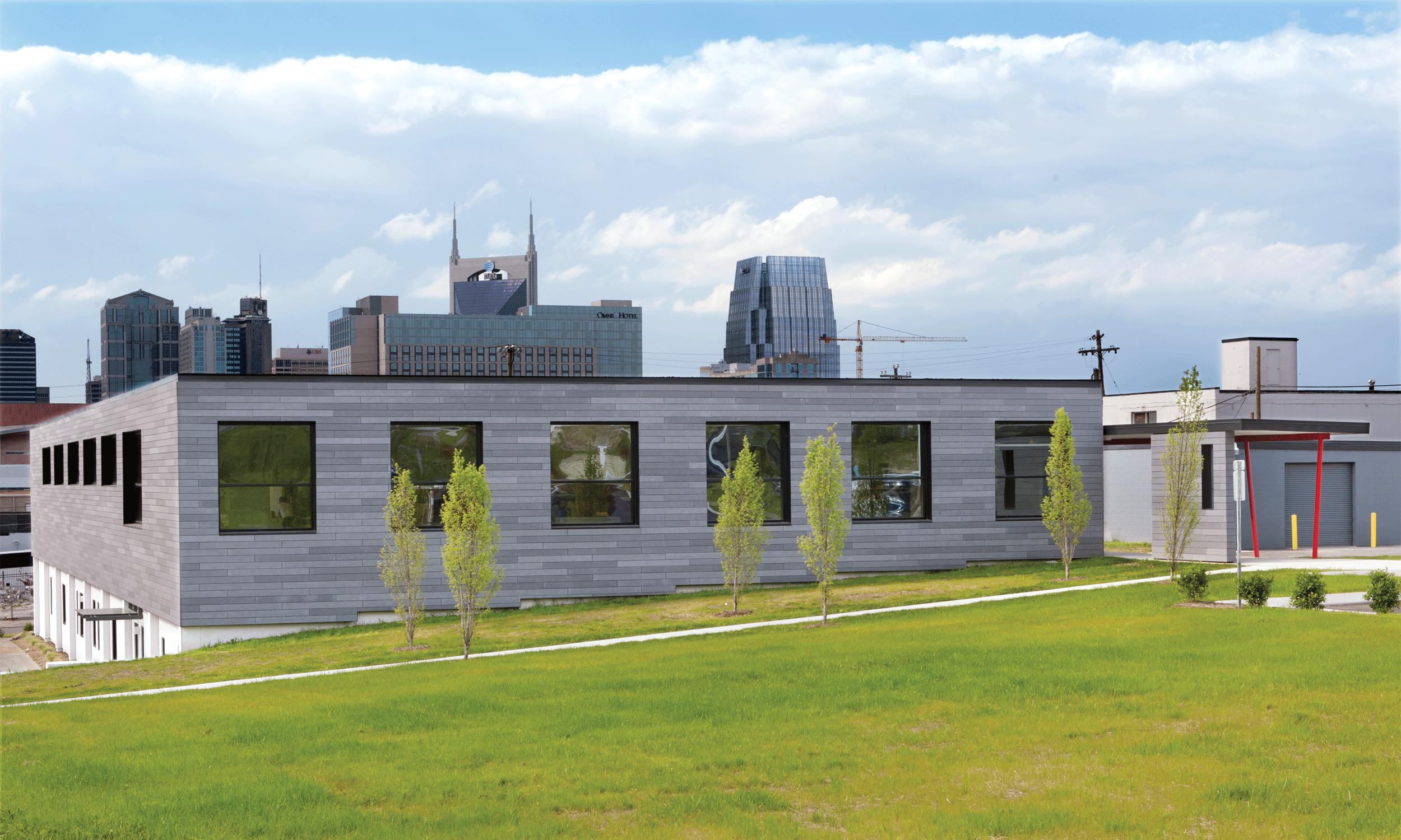 rear of upper level and Nashville skyline