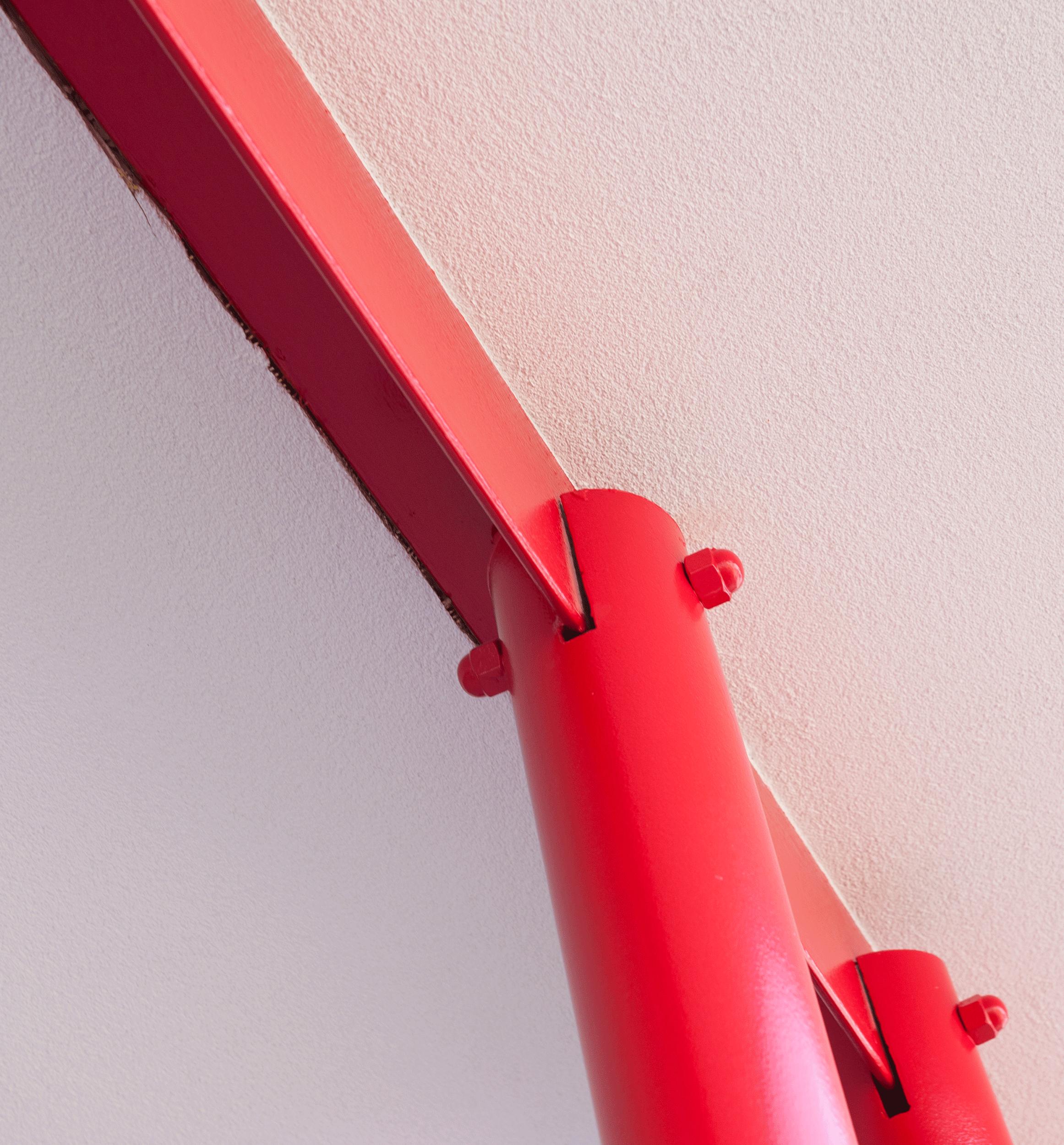 detail of red column hardware