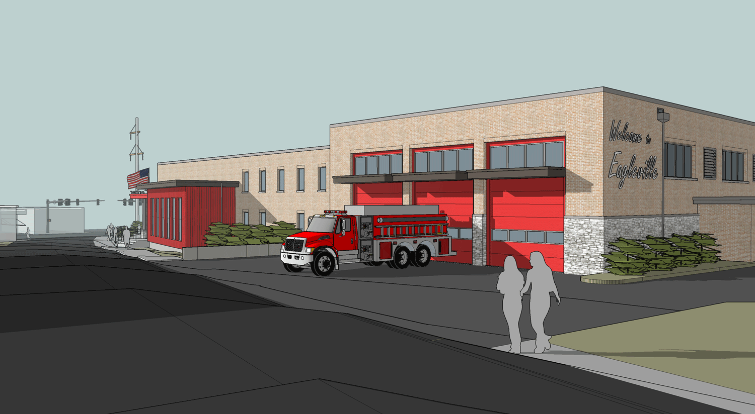Perspective View of Fire Garage