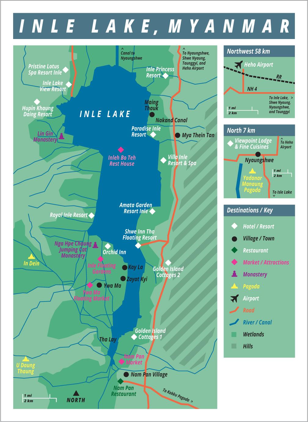Map of Inle Lake, Myanmar