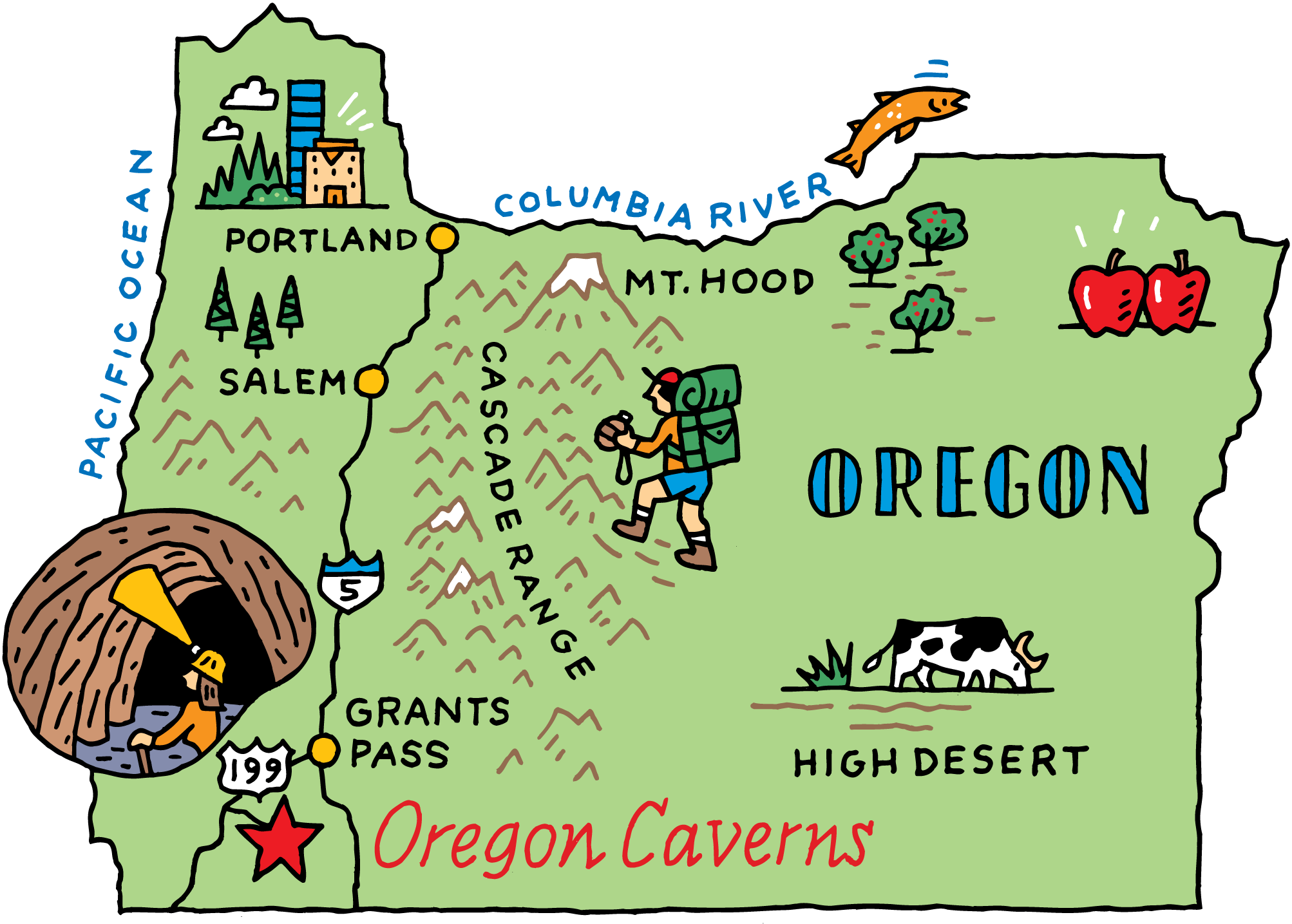 Oregon Caverns Map for Geico