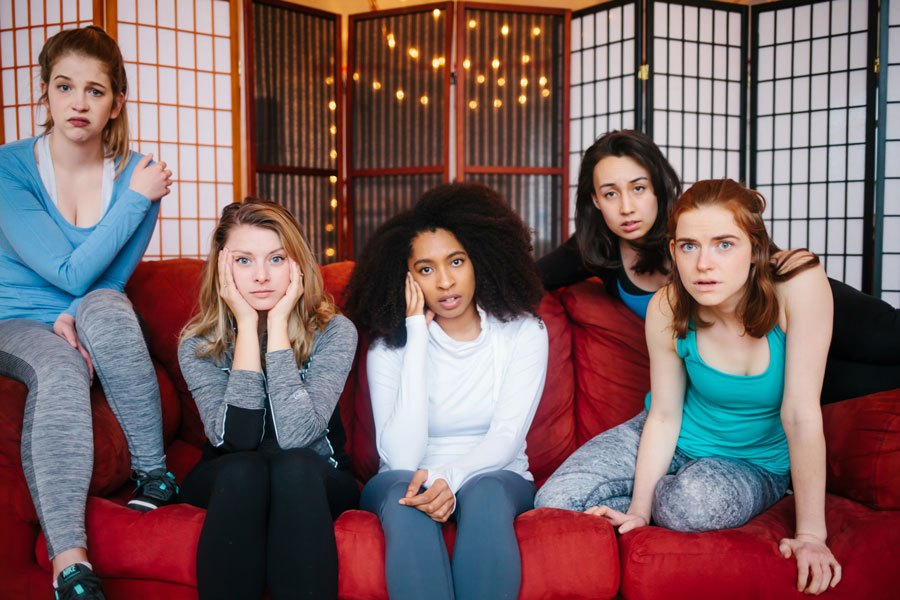 Press Photo by Layne Dixon Photography. Seen from L to R are actors: Lindsey Kite, Charlotte Thomas, Alex Dauphin, Emily Marso, and Emma Maltby