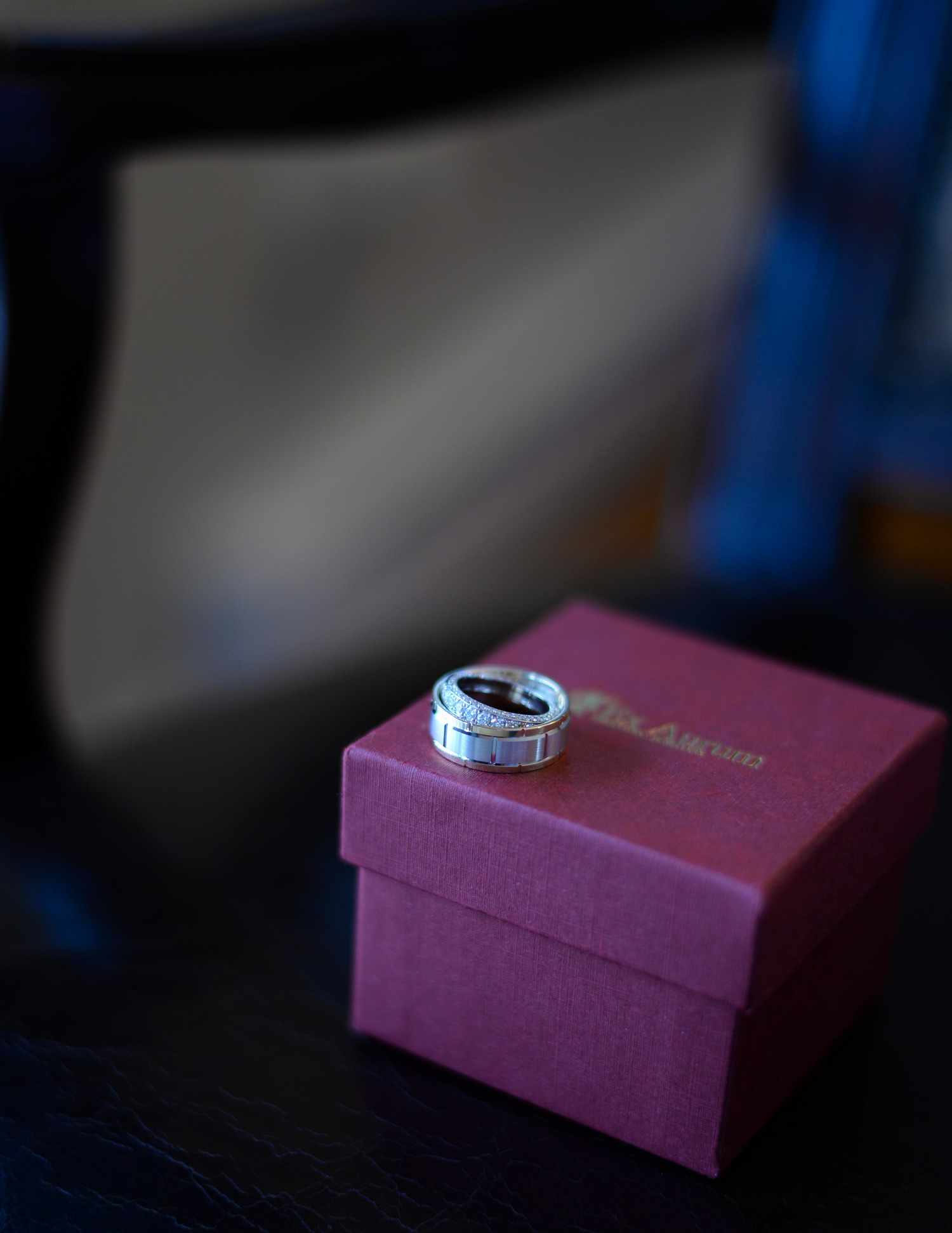 wedding rings on ring box