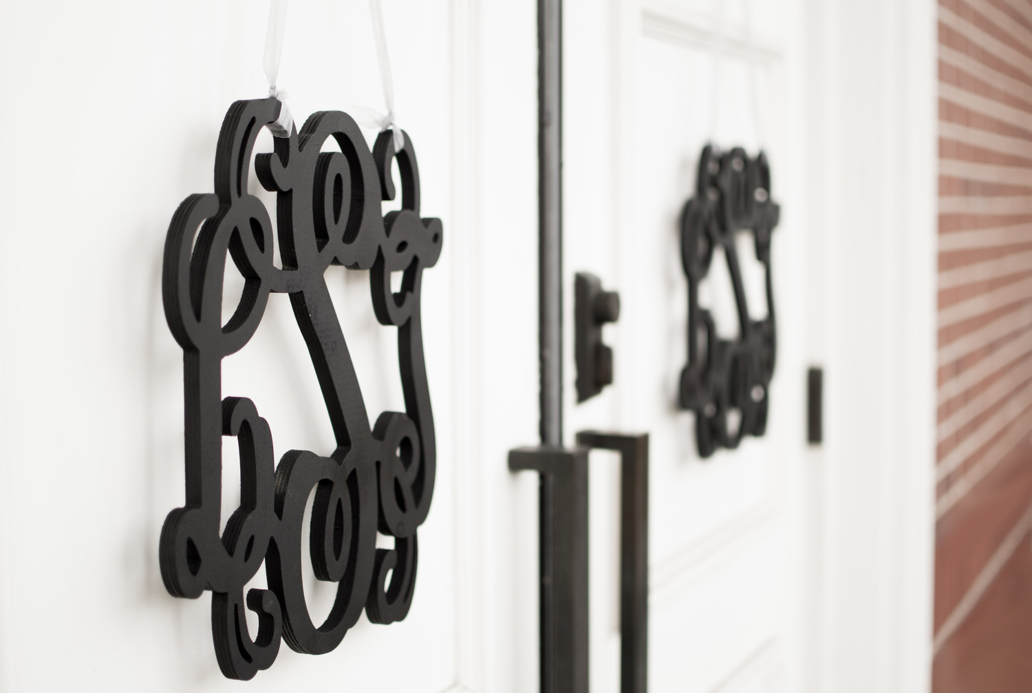 door to church with wedding monogram