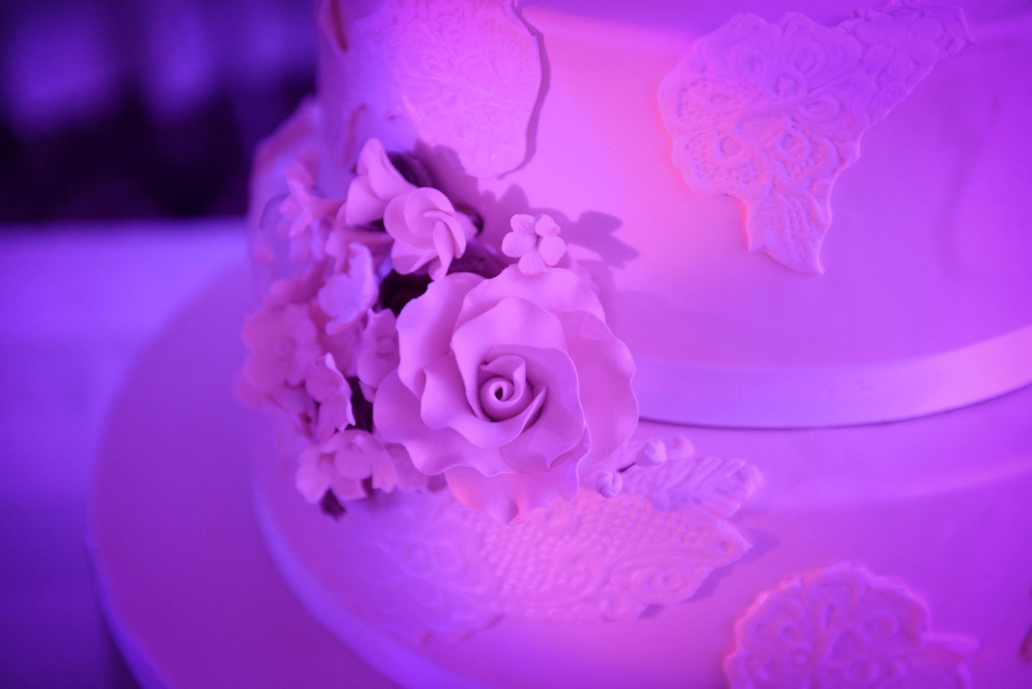 white wedding cake colored with pink disco light