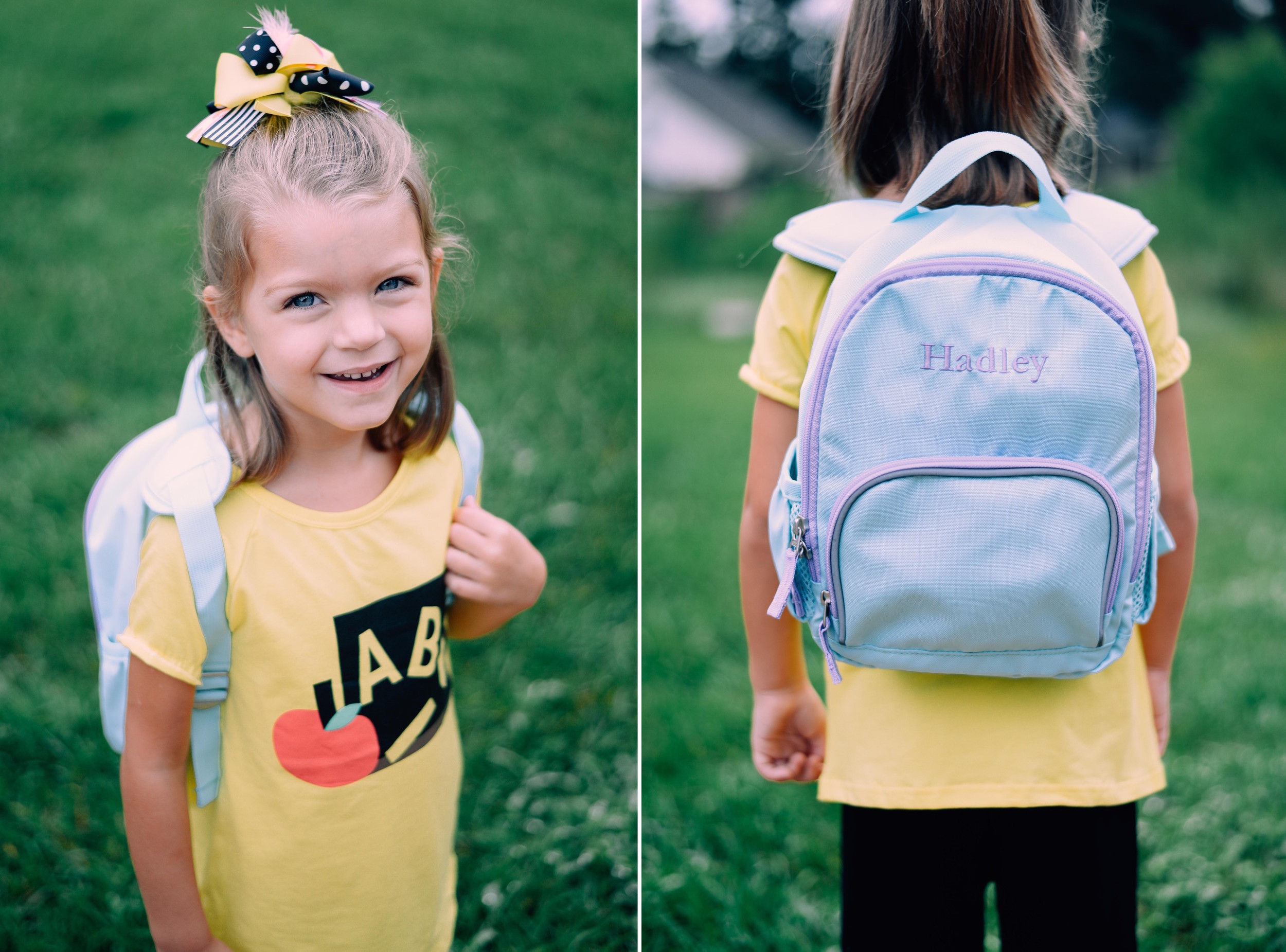 girl with backpack and abc shirt on first day of school