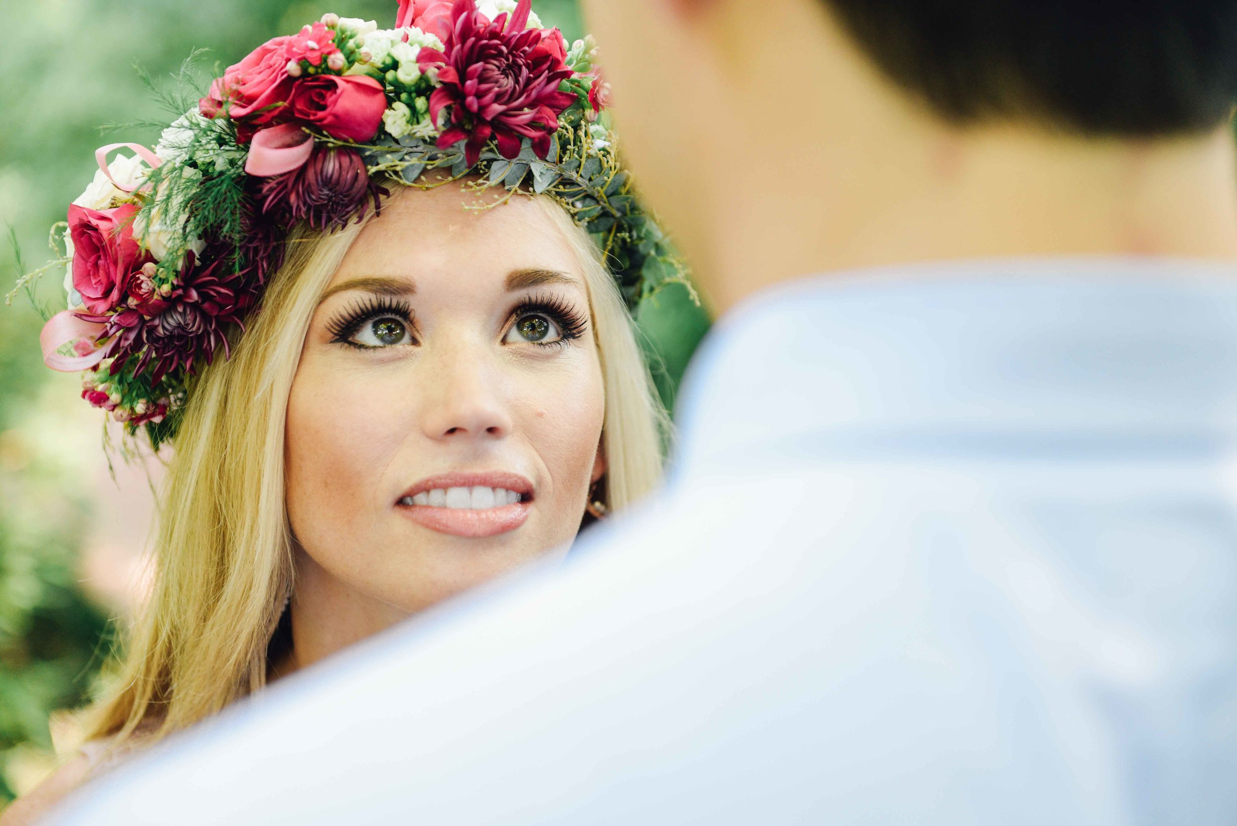 flower crown on girl with fiance