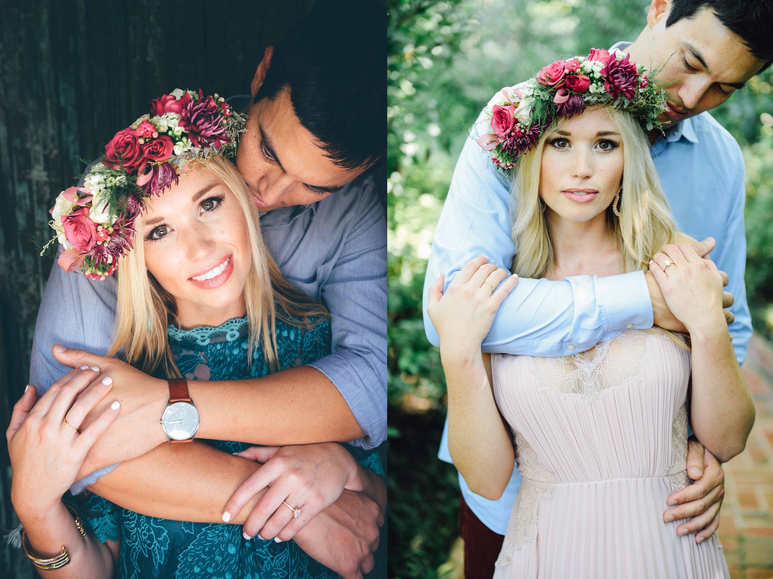 engaged girl with flower crown