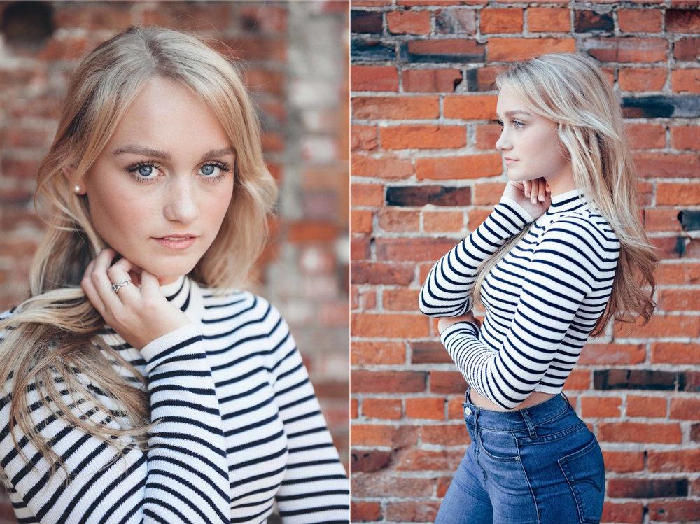 blond model against brick wall