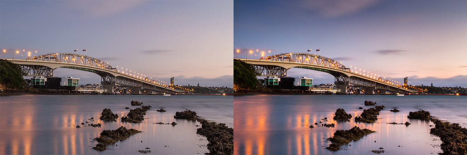 Before and after editing, really not much more than some contrast and colour boosts to liven up the rather flat RAW image.