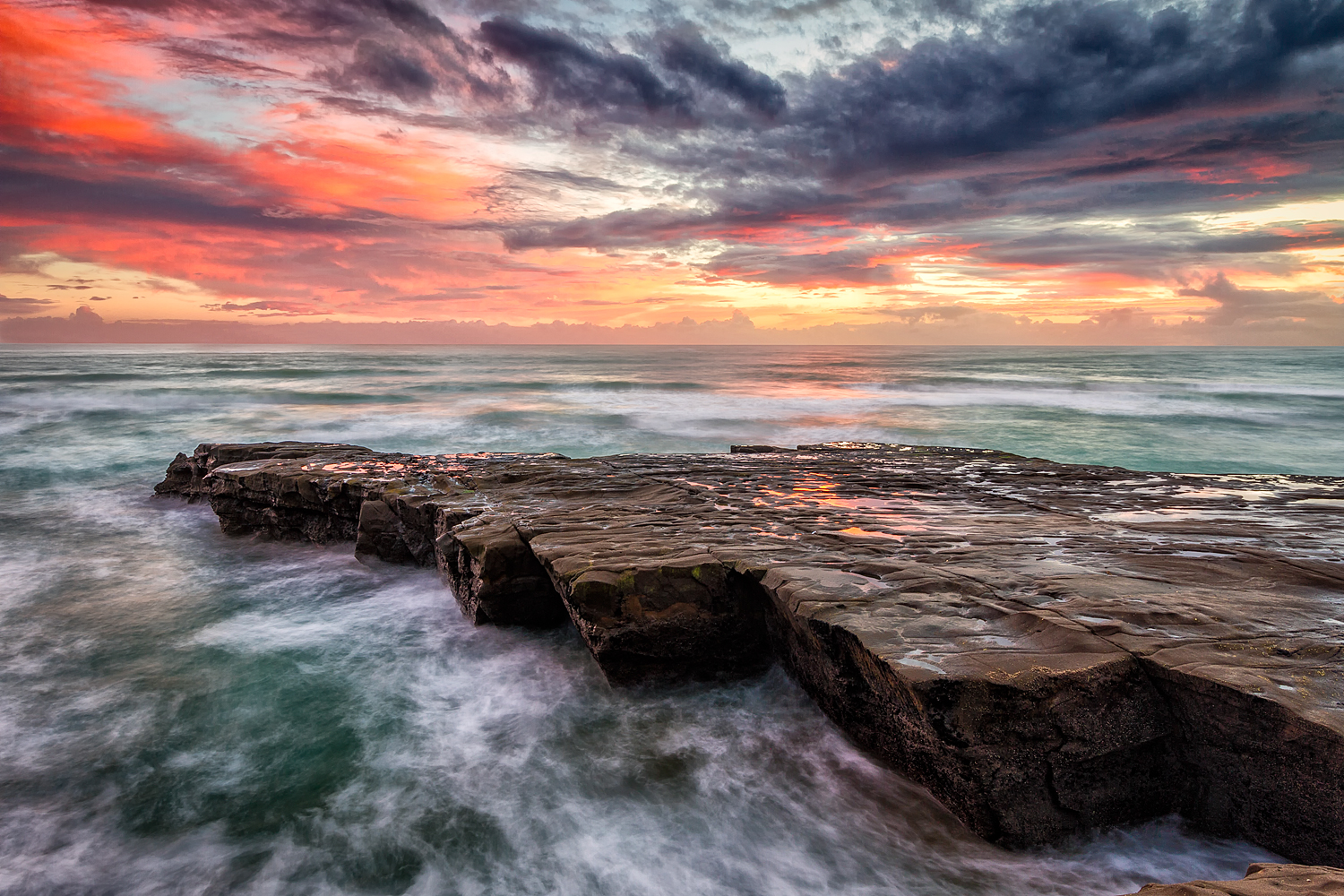 Muriwai Sunset. 13  mm | 2x exposures @ 1.0 & 4.0 sec | f16 | ISO100