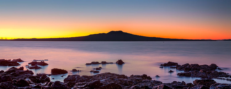 Rangitoto Island at dawn panorama   6 shot pano @ 92mm   f8.0   10 sec & 30 sec   ISO100