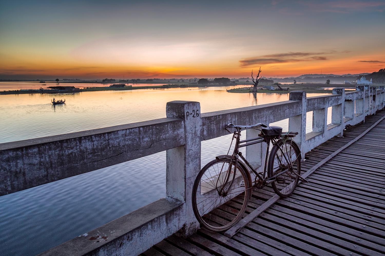 Bicycle on U Bein Bridge   24mm   1/30th sec   f4   ISO1000