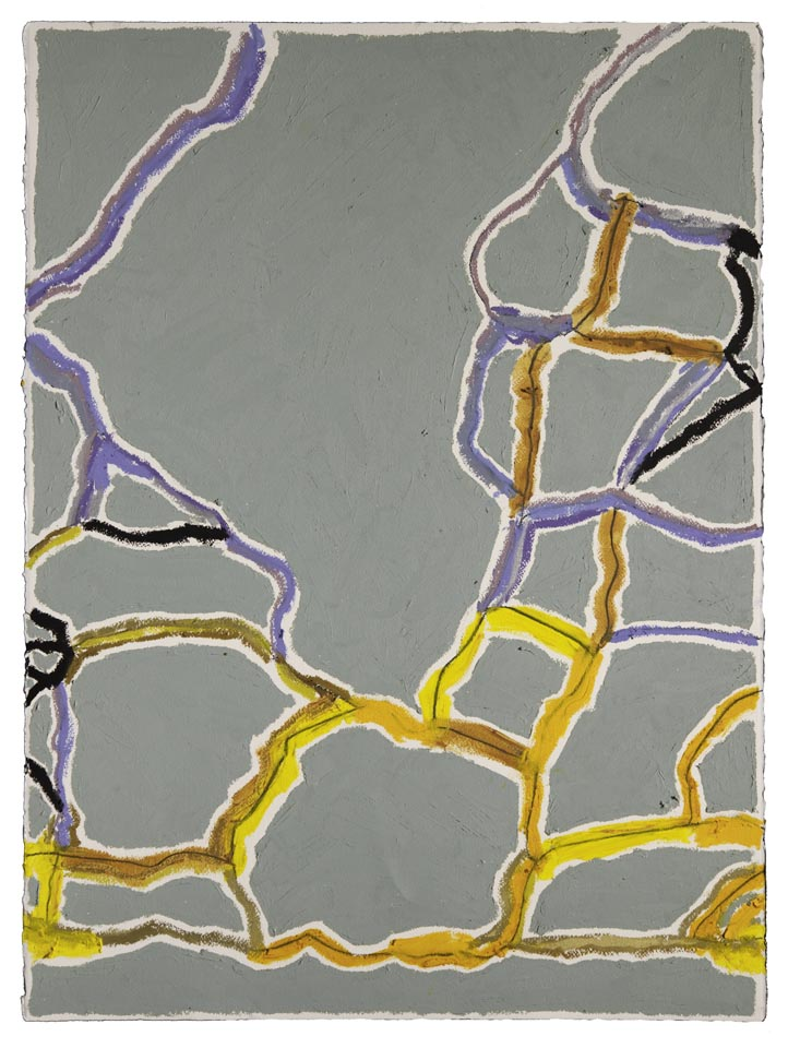 "Gray, Purple, Gold  Duval Street, Austin  (Sidewalks Series)  oil, charcoal, pastel on paper  30"" x 22""  sold"