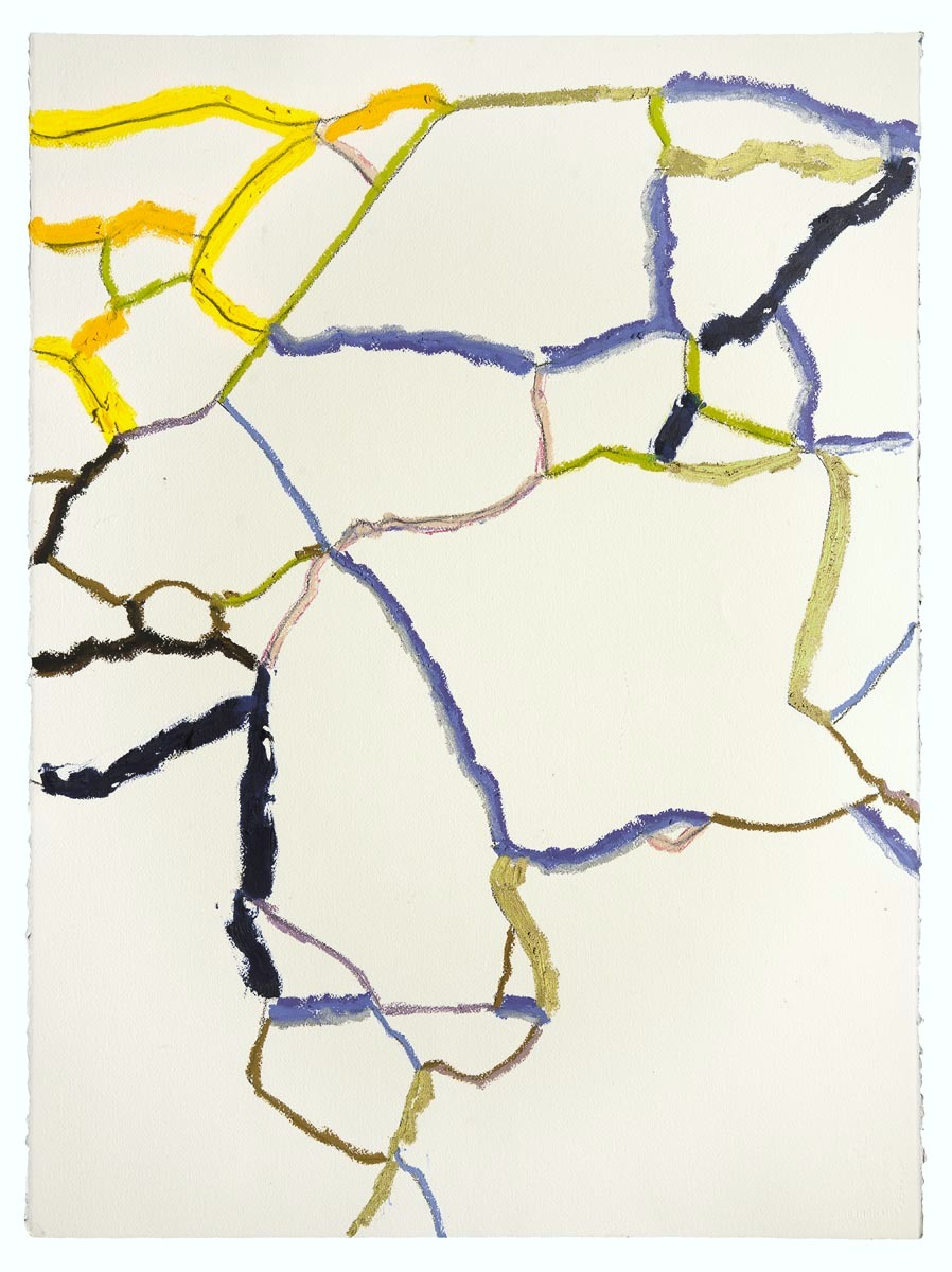 "Yellow, Blue, Gold  (Sidewalks Series)  oil, charcoal, pastel on paper  30"" x 22""  sold"