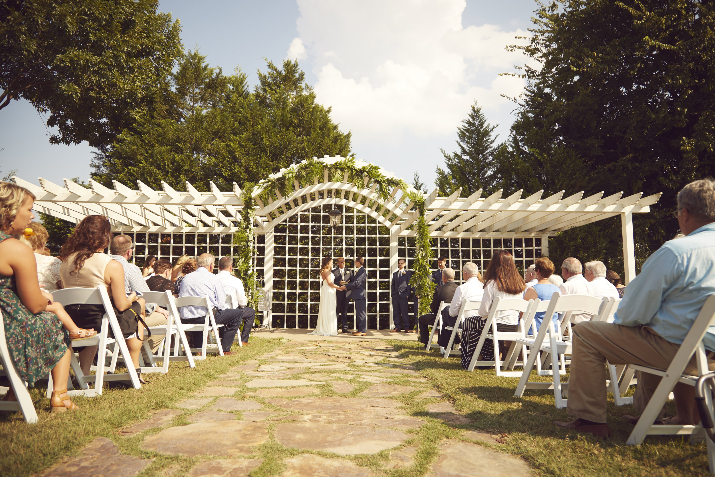 Wide shot of Southern wedding ceremony.