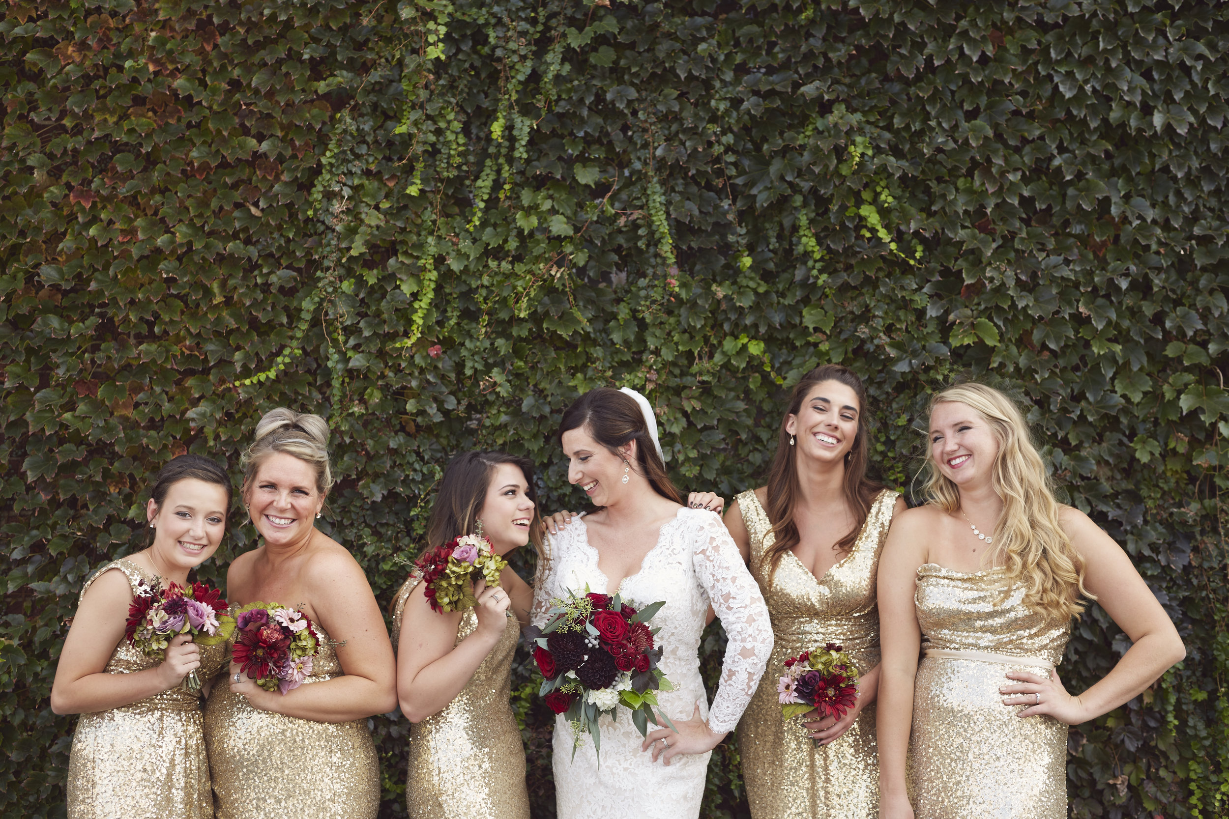 Gold and Red Themed Bridal Party
