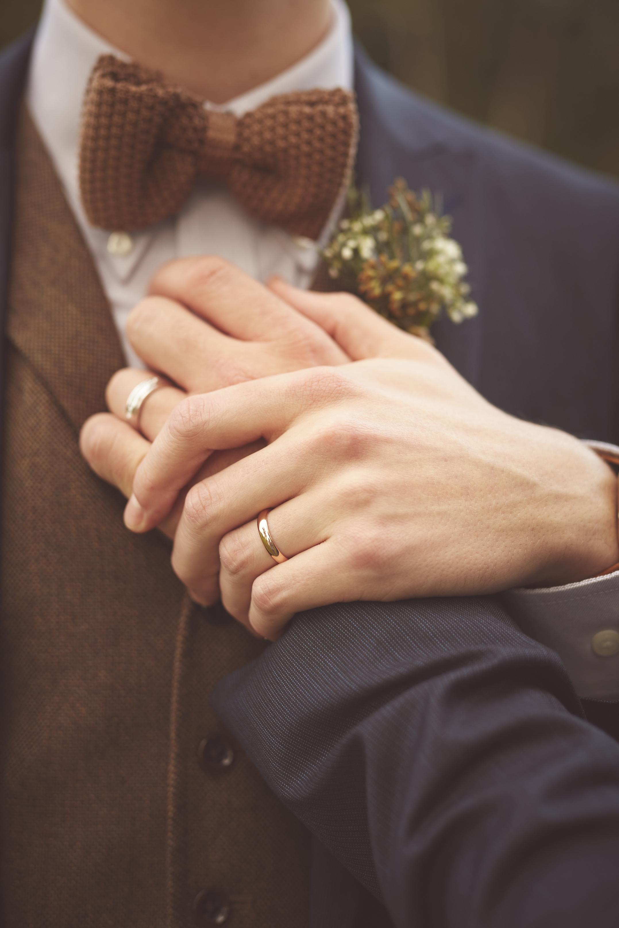 Grooms Wedding Ring Hands