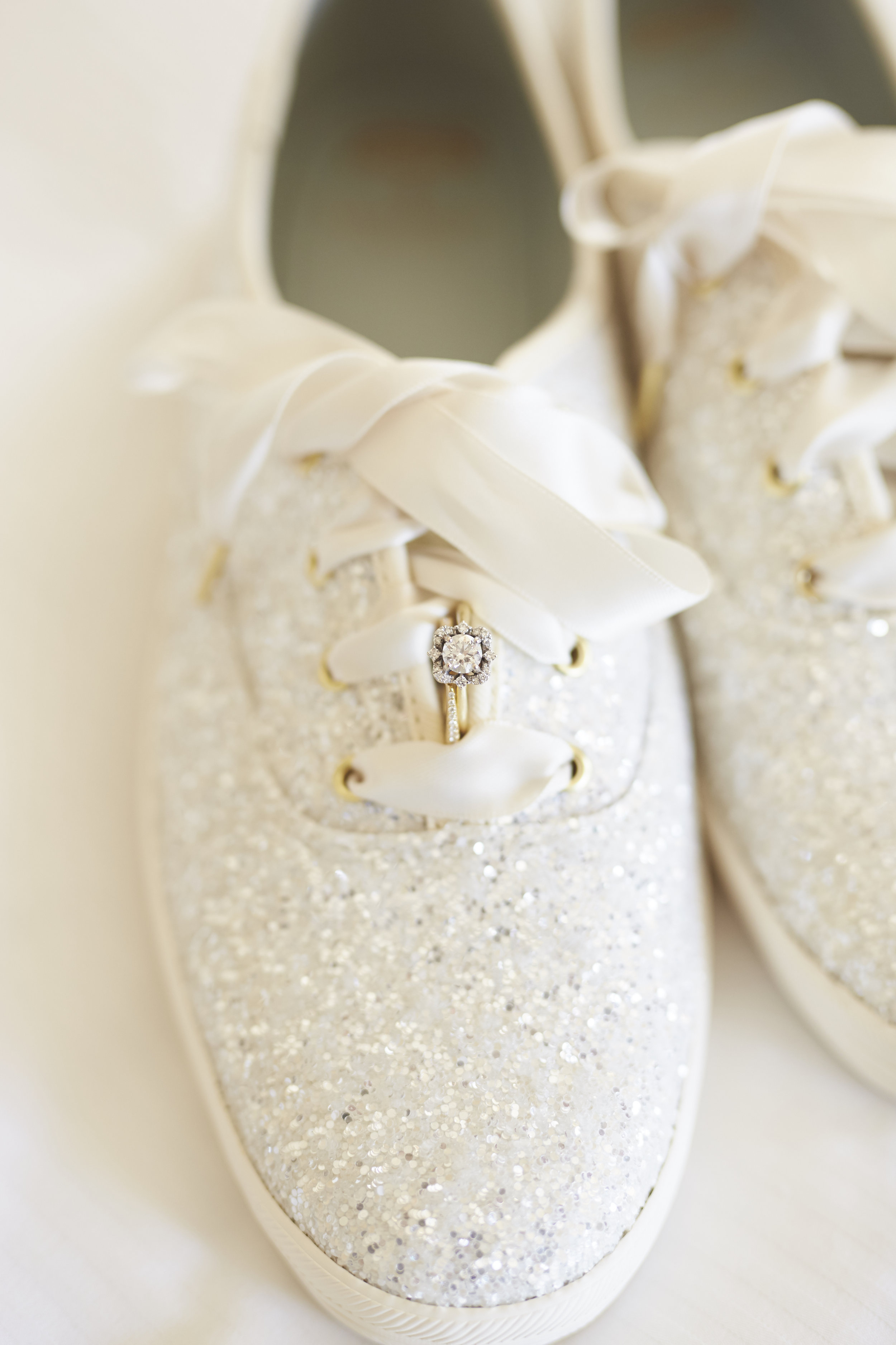 wedding ring glitter shoes detail photo
