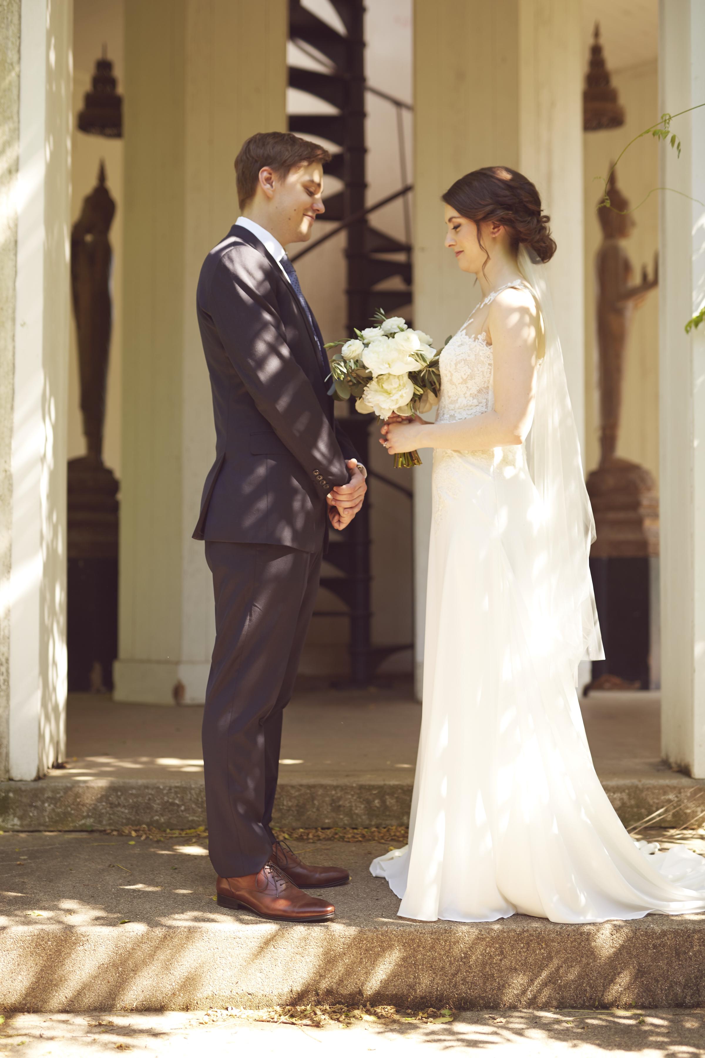 romantic bride groom wedding portrait