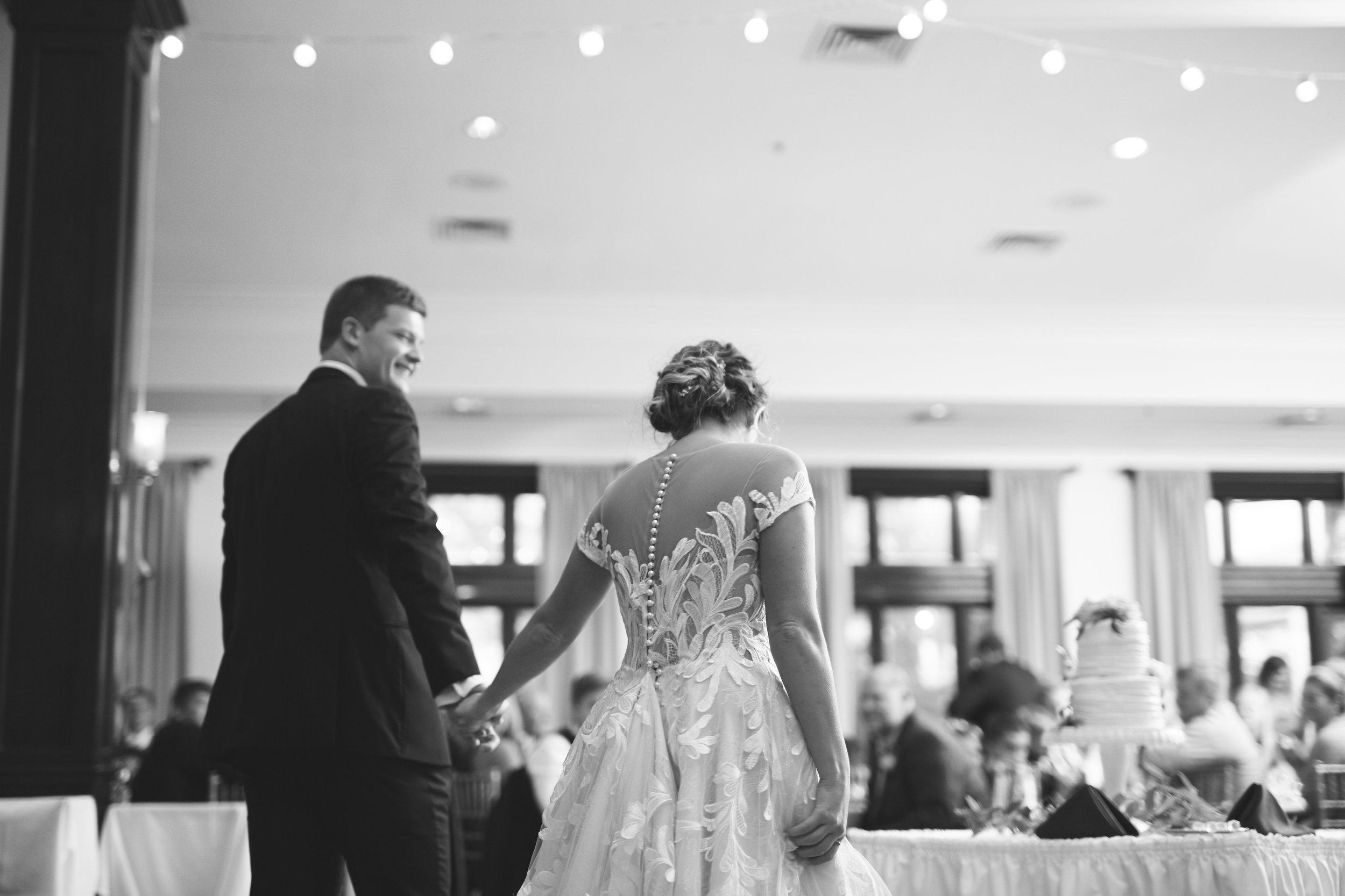 black and white wedding reception photo