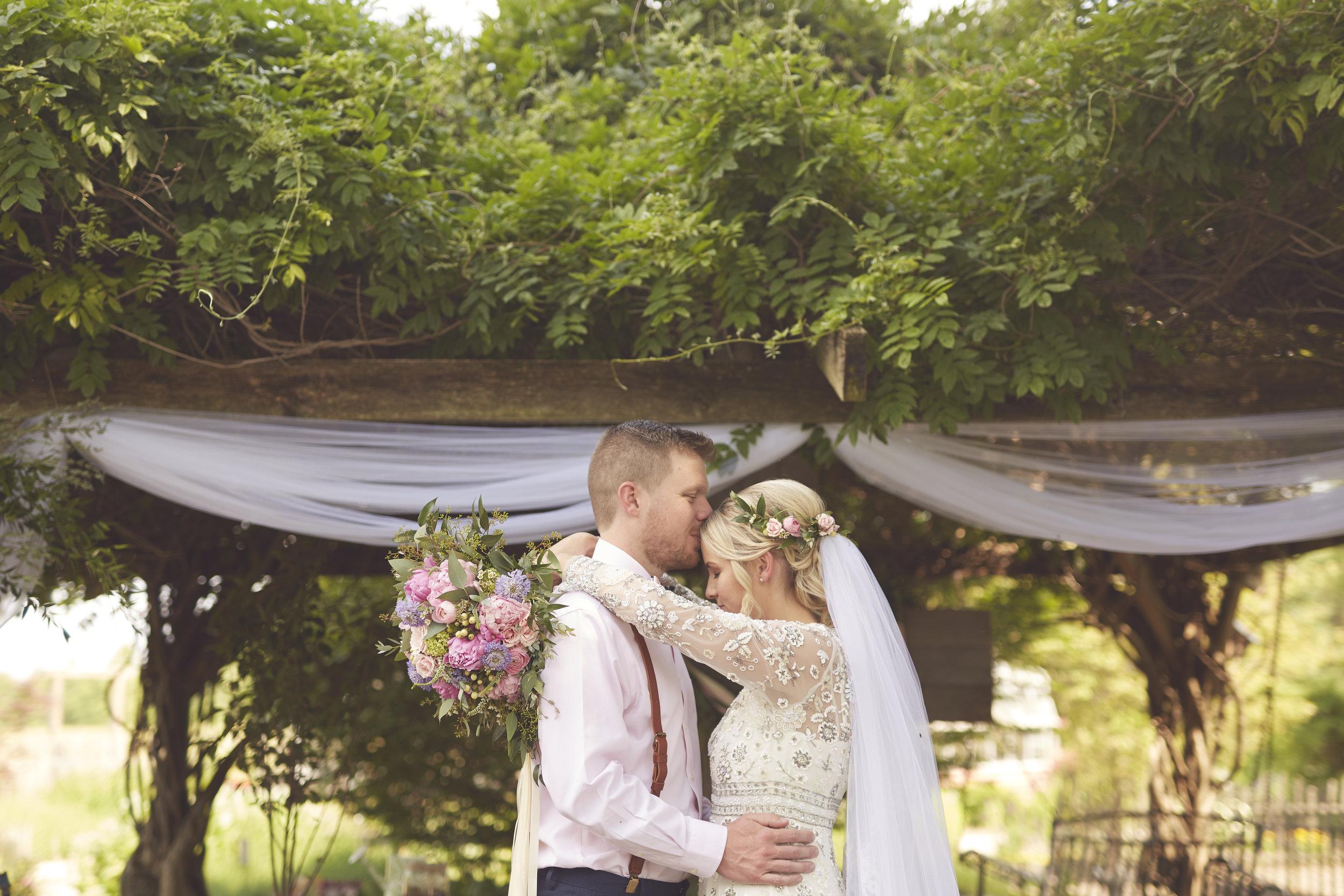 bride and groom rustic Illinois farm portrait