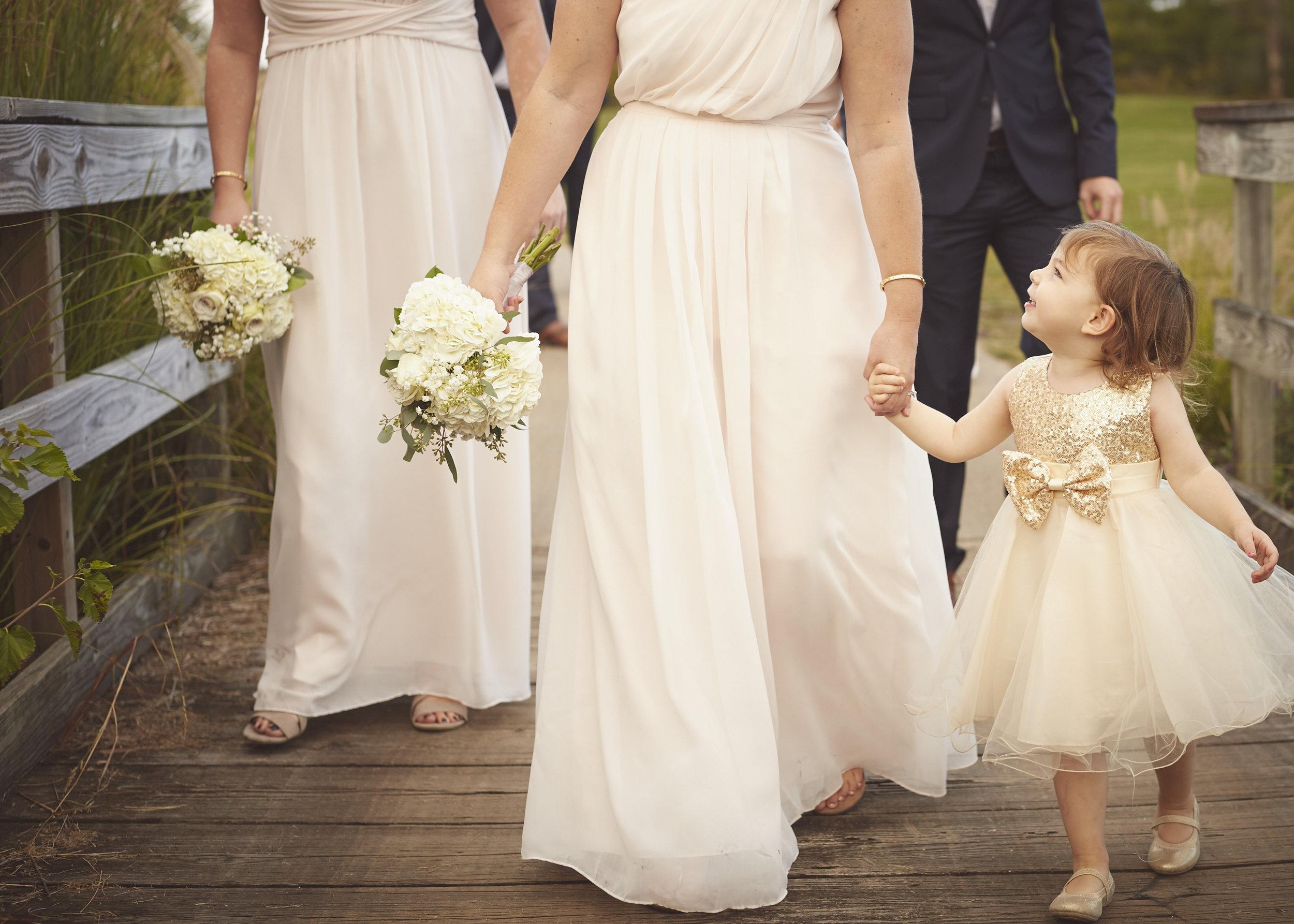wedding party flower girl family portrait