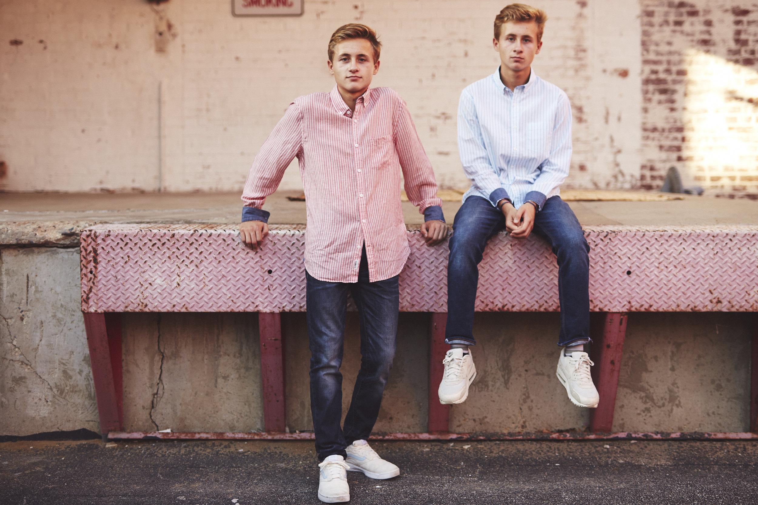high school senior twins style portrait