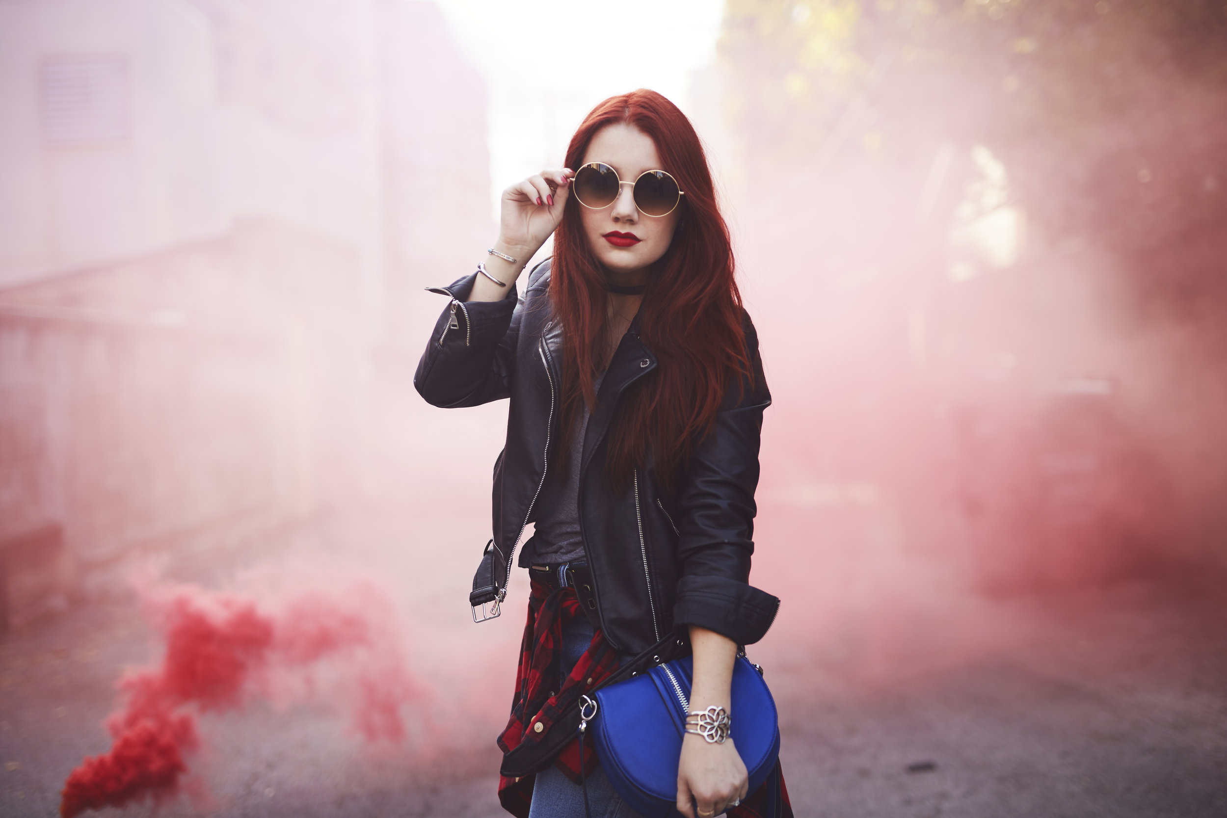 St. Louis style blogger smoke bomb portrait